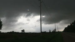 Storm clouds lightning and shelf clouds on severe thunderstorm Stock Footage
