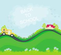 A school bus heading to school with happy children Stock Illustration