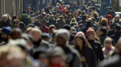 Crowd of people walking on a New York City street slow motion - stock footage