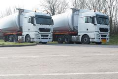 Rotor blades on heavy transporter - stock photo