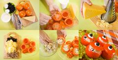 Cooking of stuffed tomato salad Stock Photos