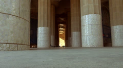 Doric columns supporting the roof of the lower court in Parc Guell, Stock Footage