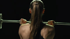 Pushing a Barbell Stock Footage
