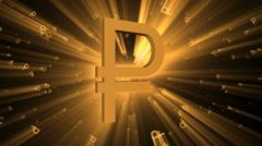 Ruble symbol. - stock footage