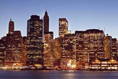 Manhattan skyline at dawn - stock photo