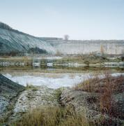 A chalk pit in northern Germany at dawn Stock Photos
