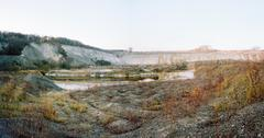 Panorama of a chalk pit in northern Germany Stock Photos
