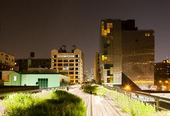 A reflecting building at the High Line park in NYC - stock photo