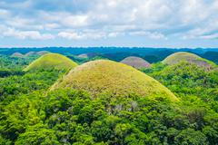 Famous Chocolate Hills natural landmark in Philippines Stock Photos