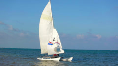 Catamaran on caribbean sea Stock Footage