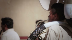 Mexican musician playing trombone - stock footage