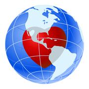 Red heart of blue earth planet Stock Illustration