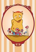 Bear on holiday. Vector illustration. - stock illustration