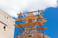 Stock Photo of church restoration scaffolding