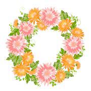 Stock Illustration of Chrysanthemum garland composition.