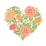 Chrysanthemum holiday card. - stock illustration
