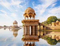 Indian landmarks - gadi sagar temple on gadisar lake -  jaisalmer, rajasthan Stock Photos