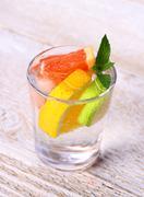 Tonic lemonade with grapefruit, lime, lemon and ice Stock Photos