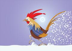 Year of the rooster. 12 Zodiac Animals. Vector illustration Stock Illustration