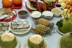 various food for chinese new year culture - stock photo