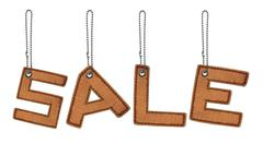 Word sale made from leather alphabet with chain isolated Stock Photos