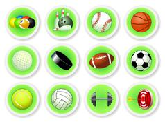 sport balls icon set - stock illustration
