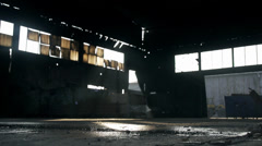 Drops of water falling from the ceiling of an old factory Stock Footage
