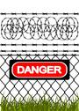 Stock Illustration of wire fence with barbed wires