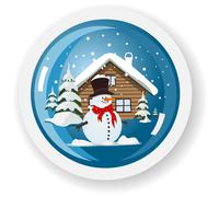 Stock Illustration of vector snowman sticker