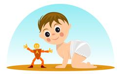 little boy playing with a toy - stock illustration