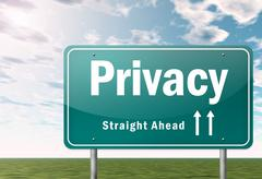 Highway signpost privacy Stock Illustration