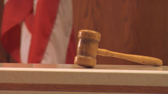Gavel on Bench, flag - stock footage