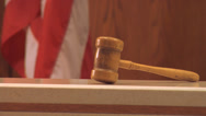 Stock Video Footage of Gavel on Bench, flag