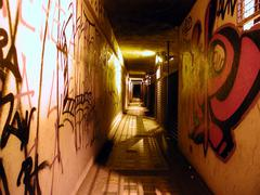 Pedestrian subway underpass with graffiti Stock Photos