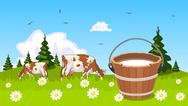 Stock Illustration of cow on meadow bucket of milk in the foreground