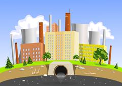 Factory air and water pollution Stock Illustration