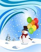 Stock Illustration of happy snowman holding colorful balloons. illustration
