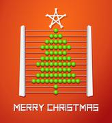 Stock Illustration of christmas tree from abacus ball