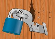 Stock Illustration of wooden door with a broken lock