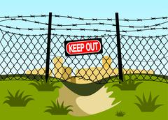 Stock Illustration of wire fence with barbed wires.
