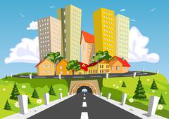 Stock Illustration of colorful abstract city