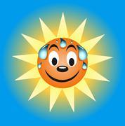 sweating summer sun - stock illustration