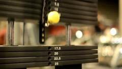 Lift fitness weights, in background gym - stock footage