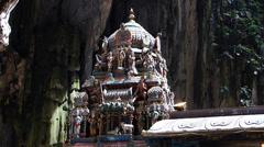 Kuala Lumpur Batu Caves Hindu Hindus temple worshippers wait from Priest - stock footage