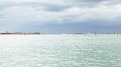 0318 The Laguna of Venice in a rainy day -Venice Lagoon Stock Footage