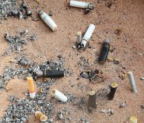 Cigarette addiction ashtray Stock Photos
