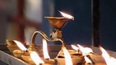 Kuala Lumpur Batu Caves Hindu Hindus temple oil lamp Malaysia Asia - stock footage