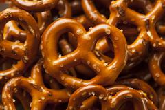organic brown mini pretzels with salt - stock photo