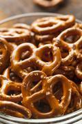 organic brown mini pretzels with salt - stock photo