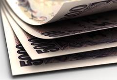 Japanese yens closeup Stock Illustration